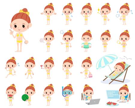 maillot de bain: Jeu de différentes poses de ruban fille bikini jaune style de maillots de bain