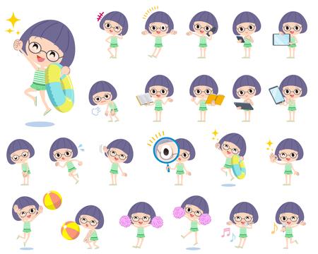 Set of various poses of Bobbed Glasses girl green Swimwear style