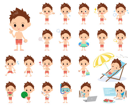Set of various poses of boy red Swimwear style