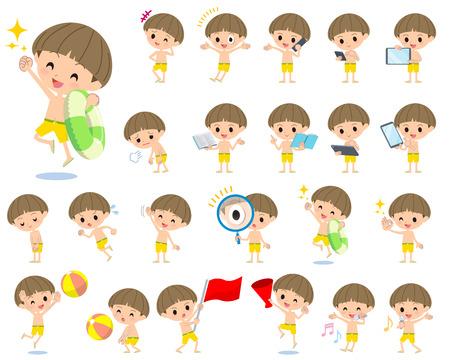 Set of various poses of boy Yellow Swimwear style 2
