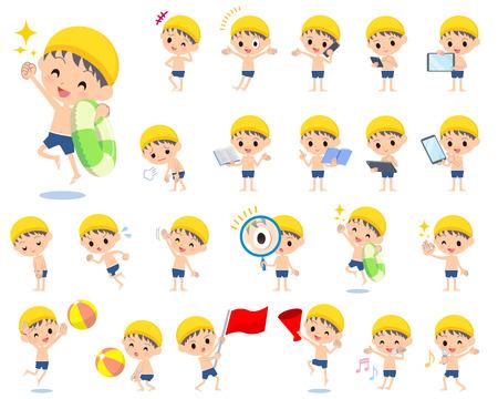 Set of various poses of boy regular Swimwear style 2