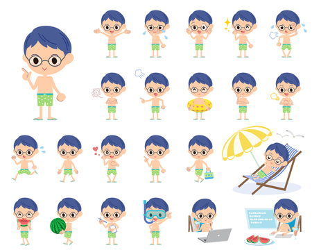 convinced: Set of various poses of boy Green Swimwear style
