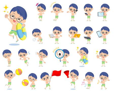 Set of various poses of boy Green Swimwear style 2 Illustration