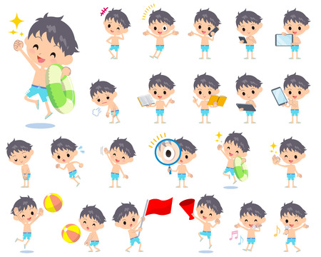 announced: Set of various poses of boy blue Swimwear style