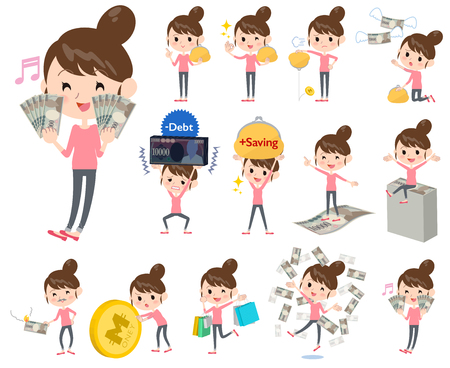 debt: Set of various poses of Bun hair mom Pants style about the money