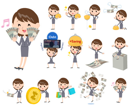 woman business suit: Set of various poses of Gray suit business woman about the money