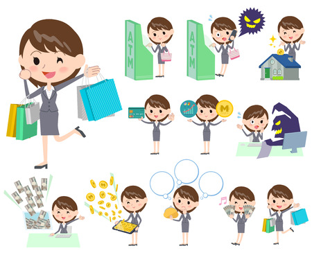 woman business suit: Set of various poses of Gray suit business woman about the Finance Illustration
