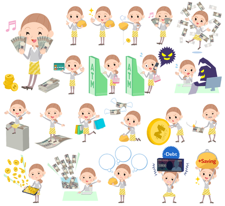 satire: Set of various poses of Behind knot hair yellow floral skirt woman money Illustration