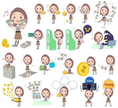 credit card business woman: Set of various poses of Long hair border T shirt woman money
