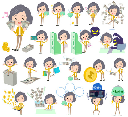 credit card business woman: Set of various poses of Yellow jacket Middle woman Pants style money Illustration