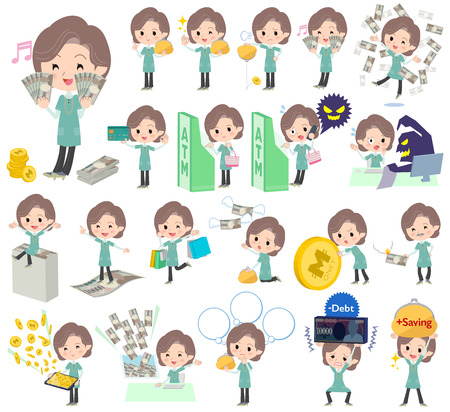 bluegreen: Set of various poses of Blue-green tunic Middle woman money Illustration