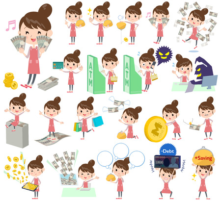 sideline: Set of various poses of Ballet Bun hair Apron mom money Illustration