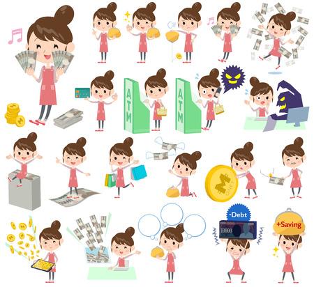 credit card business woman: Set of various poses of Ballet Bun hair Apron mom money Illustration