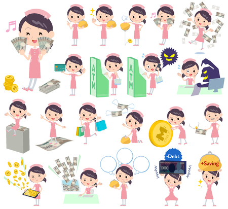 satire: Set of various poses of Nurse About the money