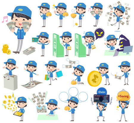 deliveryman: Set of various poses of Delivery women money