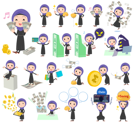 economy: Set of various poses of Arab women money Illustration