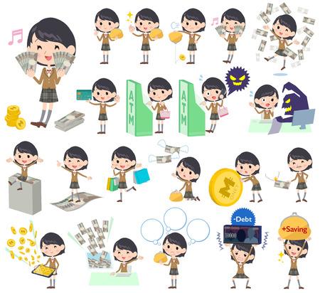 satire: Set of various poses of school girl Brownn Blazer money