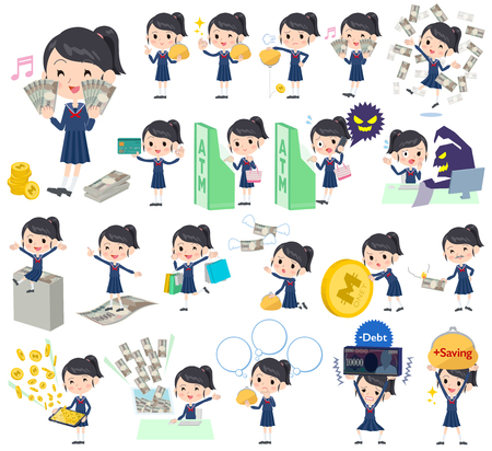 caching: Set of various poses of school girl Sailor suit money Illustration