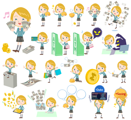 successful student: Set of various poses of Schoolgirl Caucasian money