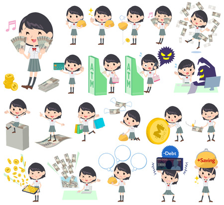 school bills: Set of various poses of schoolgirl White shortsleeved shirt money