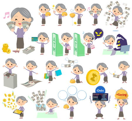 caching: Set of various poses of Purple clothes grandmother money