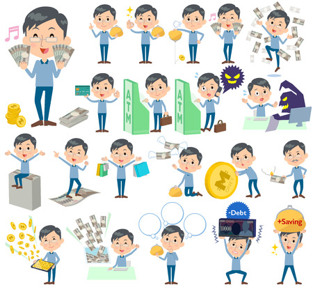 Set of various poses of Blue clothing glass dad money  イラスト・ベクター素材