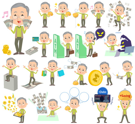 caching: Set of various poses of Green vest grandfather money Illustration