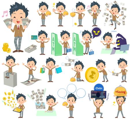Set of various poses of school boy Brown Blazer money Illustration