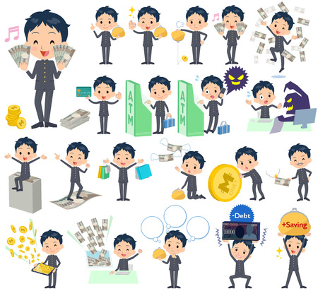 Set of various poses of school boy gakuran money