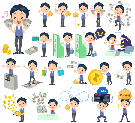 Set of various poses of schoolboy Blue vest short sleeved shirt money Illustration