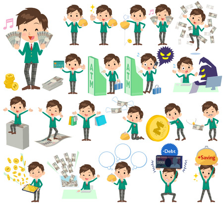 Set of various poses of school boy Green Blazer money