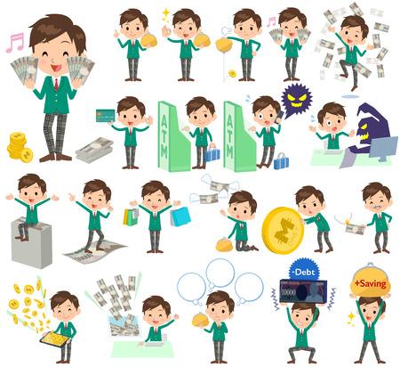 blazer: Set of various poses of school boy Green Blazer money