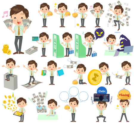 sleeved: Set of various poses of schoolboy Green short sleeved shirt money Illustration