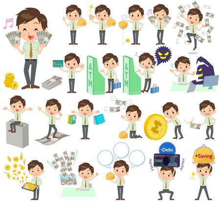 short sleeved: Set of various poses of schoolboy Green short sleeved shirt money Illustration