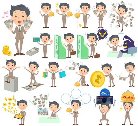 satire: Set of various poses of Beige suit short hair beard man money