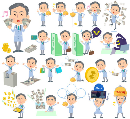 doctor with money: Set of various poses of Doctor About the money