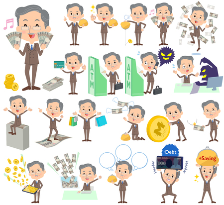 Set of various poses of Double suit beard old man money