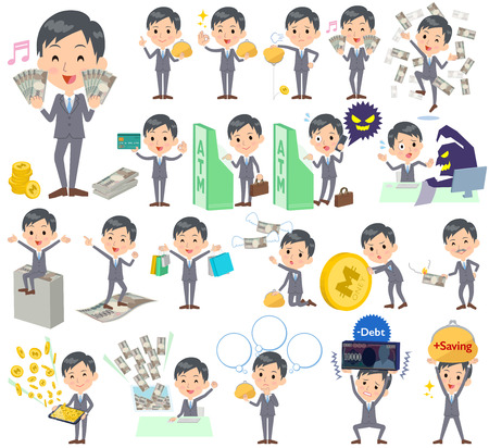 Set of various poses of Gray Suit Businessman money