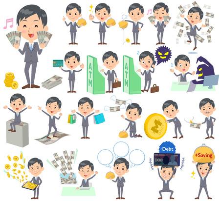 Set van verschillende poses van Gray Suit Zakenman geld