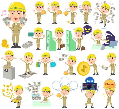 Set di diverse pose di denaro di uomo lavoratore di costruzione casco