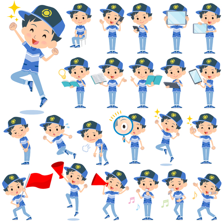 Set of various poses of adventure boy