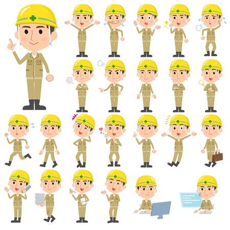 Conjunto de varias actitudes de casco hombre trabajador de la construcción