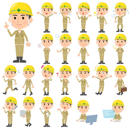 Set of various poses of helmet construction worker man