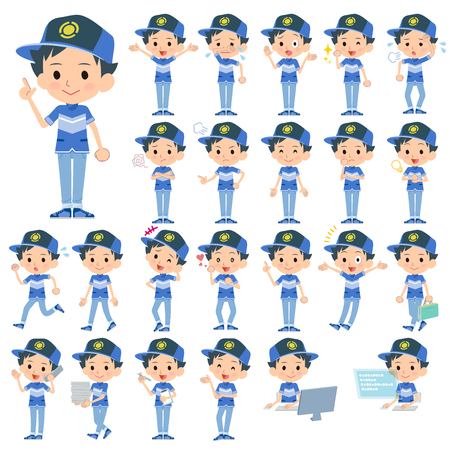 convinced: Set of various poses of adventure boy