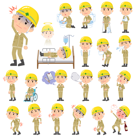 nursing clothes: Set of various poses of helmet construction worker man About the sickness
