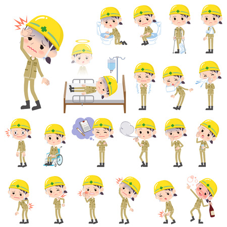 abdominal pain: Set of various poses of helmet construction worker woman sickness