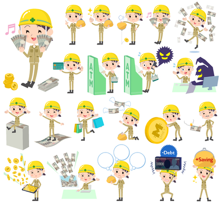 caching: Set of various poses of helmet construction worker woman money