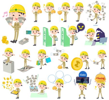 satire: Set of various poses of helmet construction worker woman money