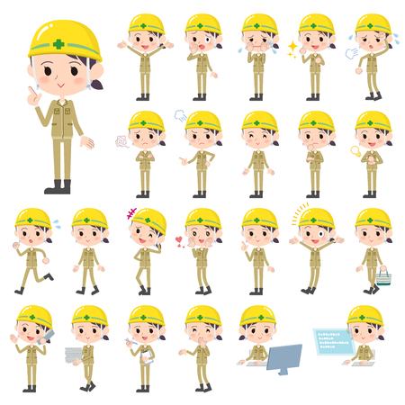 Set of various poses of helmet construction worker woman
