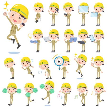 Set of various poses of helmet construction worker woman 2 Illustration